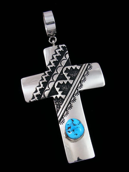 Native American Silver Overlay Turquoise Cross Pendant