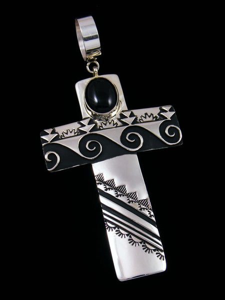 Native American Silver Overlay Onyx Cross Pendant