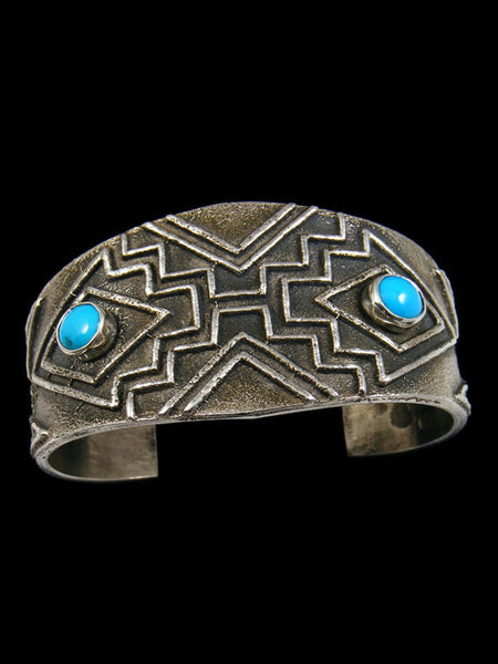 Native American Tufa Cast Turquoise Bracelet by Derrick Yazzie - PuebloDirect.com - 1