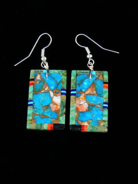 Santo Domingo Mosaic Inlay Turquoise Dangle Earrings