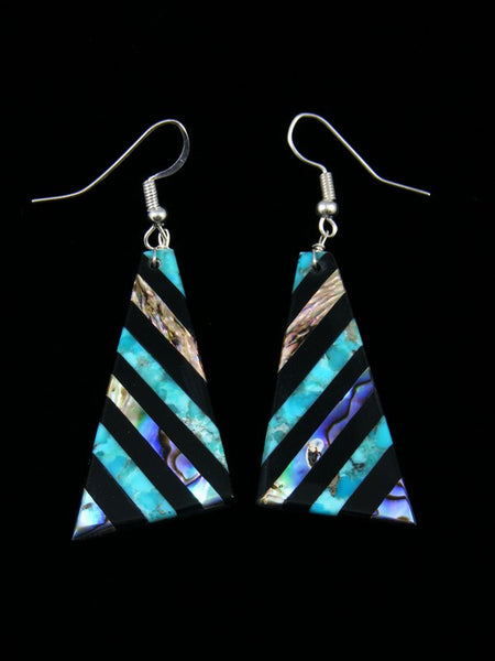 Turquoise, Jet, and Abalone Santo Domingo Inlay Earrings