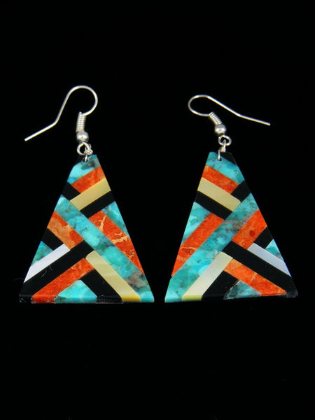 Turquoise, Jet, Apple Coral and Mother of Pearl Santo Domingo Inlay Earrings
