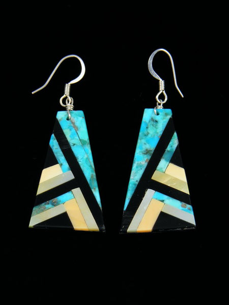 Inlay Turquoise and Jet Dangle Earrings