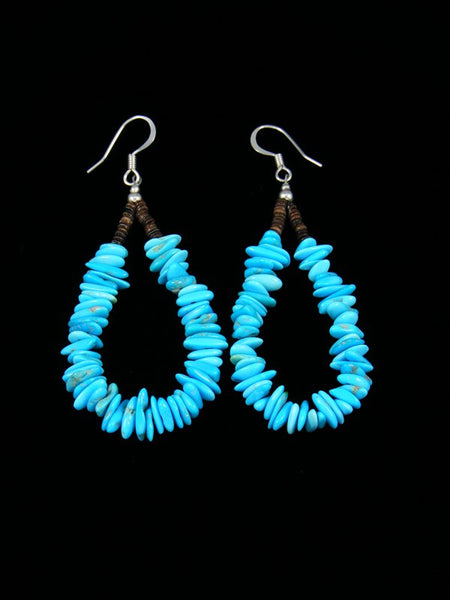 Turquoise and Shell Heishi Bead Dangle Earrings