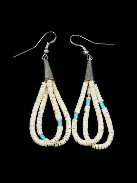 Turquoise and Shell Heishi Dangle Earrings