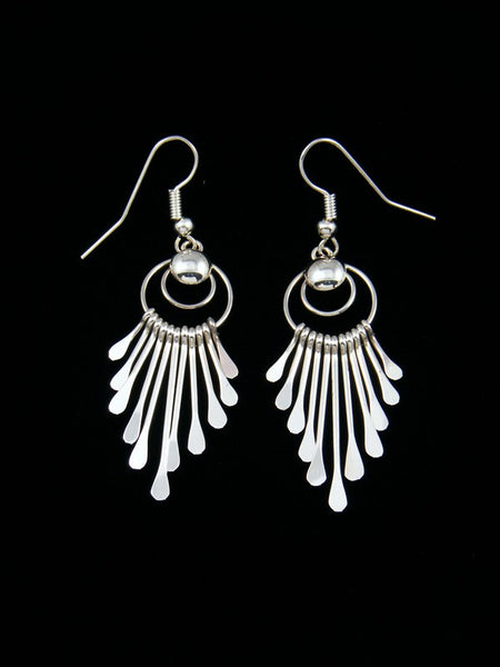 Navajo Sterling Silver Waterfall Dangle Earrings