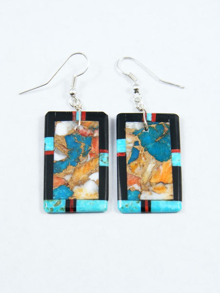 Santo Domingo Mosaic Inlay Turquoise and Jet Dangle Earrings