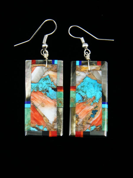 Santo Domingo Mosaic Inlay Abalone Dangle Earrings