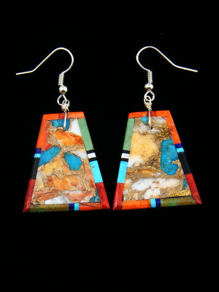 Santo Domingo Mosaic Inlay Apple Coral Dangle Earrings