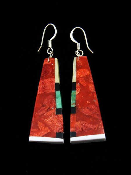 Mosaic Apple Coral Santo Domingo Dangle Earrings