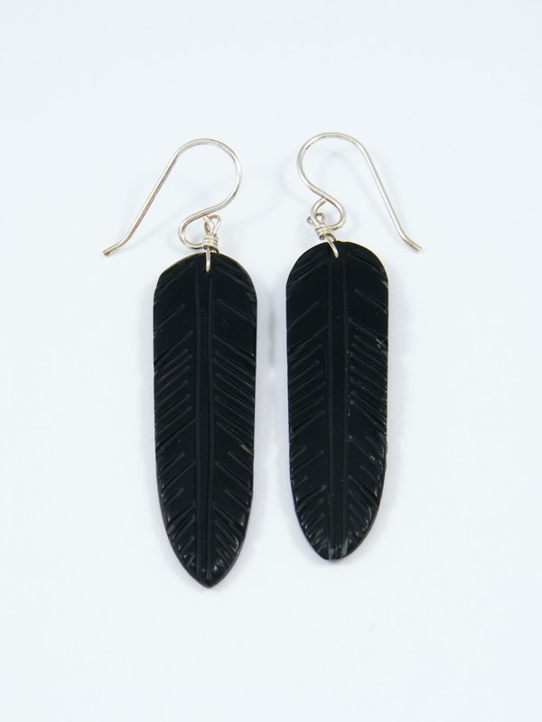 Santo Domingo Black Jet Dangle Etched Feather Earrings