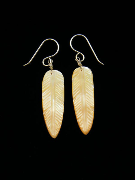 Santo Domingo Gold Lip Mother of Pearl Dangle Etched Feather Earrings