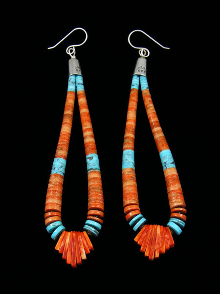 Navajo Apple Coral and Turquoise Dangle Earrings