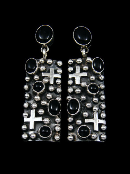 Native American Sterling Silver Onyx Post Earrings