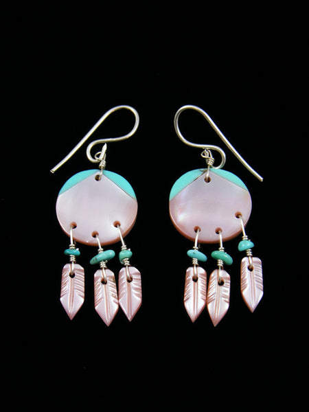 Pink Shell and Turquoise Dreamcatcher Earrings