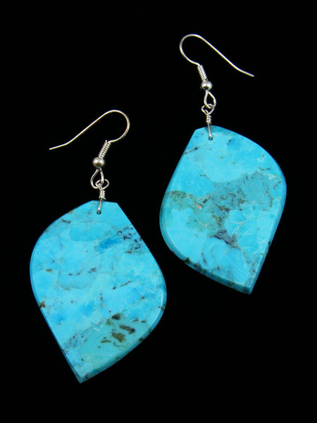 Turquoise Slab Dangle Earrings