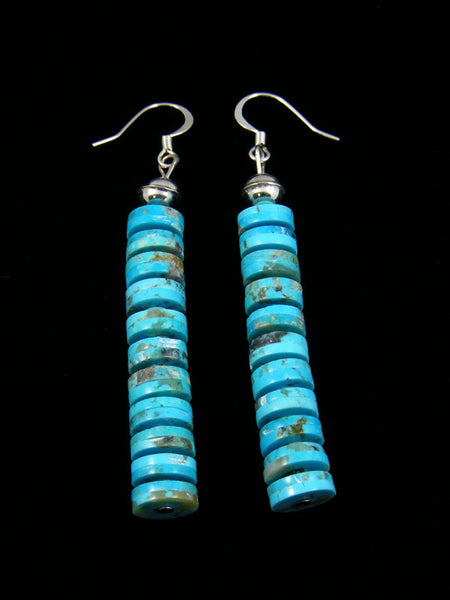 Stacked Row Turquoise Dangle Earrings