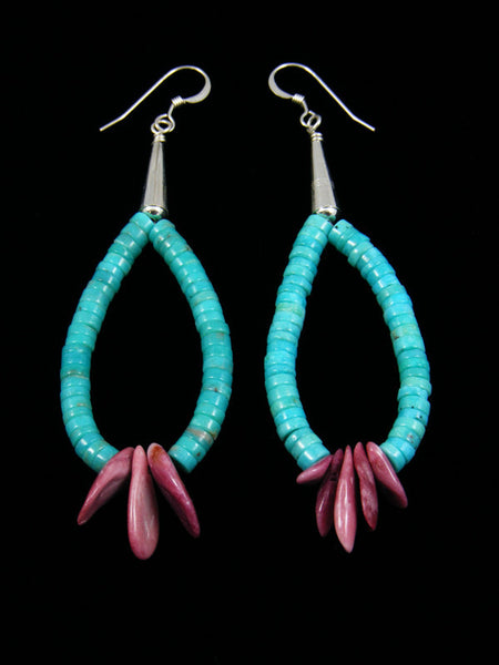Purple Spiny Oyster and Turquoise and Heishi Hook Earrings