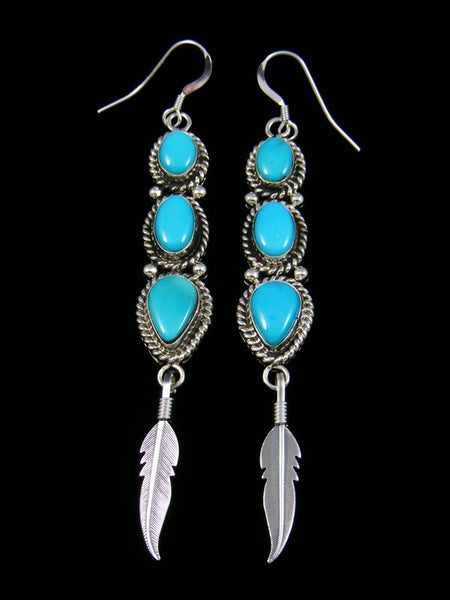 Navajo Turquoise Sterling Silver Feather Dangle Earrings
