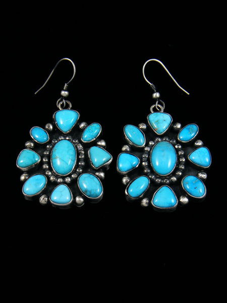 Heavy Navajo Turquoise Sterling Silver Earrings