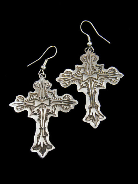 Navajo Sterling Silver Cross Dangle Earrings