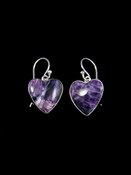 Charoite Sterling Silver Heart Earrings