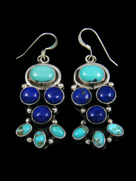Turquoise and Lapis Sterling Silver Dangle Earrings