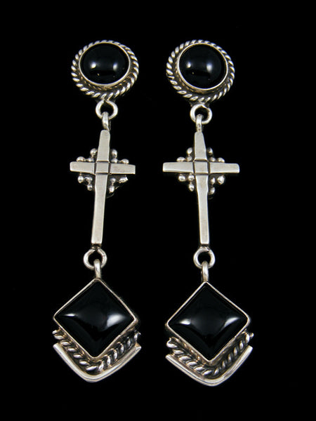 Navajo Sterling Silver Onyx Cross Earrings