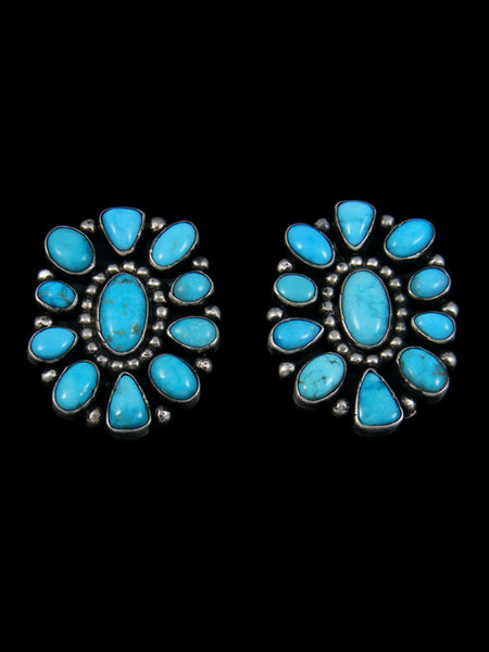 Heavy Navajo Turquoise Sterling Silver Post Earrings