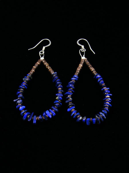 Lapis and Shell Heishi Bead Dangle Earrings