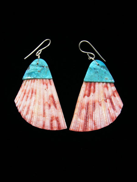 Shell and Turquoise Santo Domingo Inlay Earrings