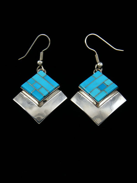 Navajo Sterling Silver Turquoise Inlay Dangle Earrings