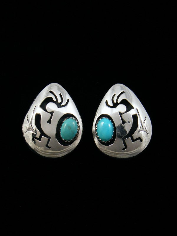 Navajo Sterling Silver Post Turquoise Kokopelli Earrings