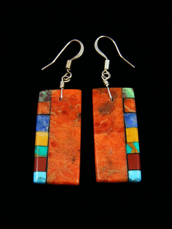 Navajo Apple Coral Mosaic Dangle Earrings