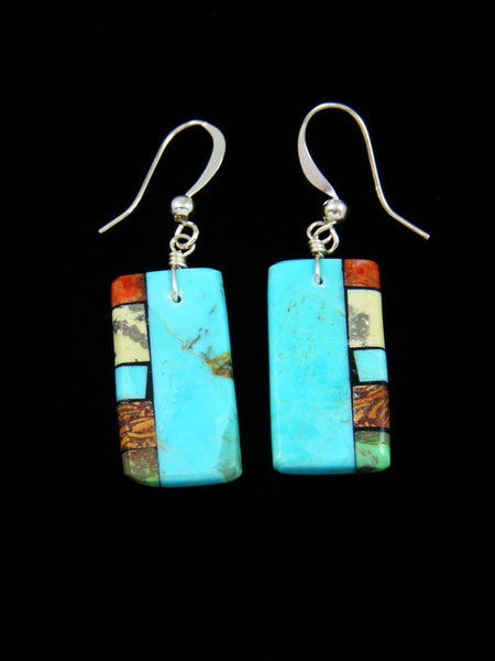 Navajo Turquoise Mosaic Dangle Earrings