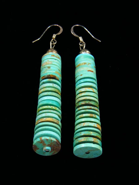 Navajo Stacked Row Turquoise Dangle Earrings