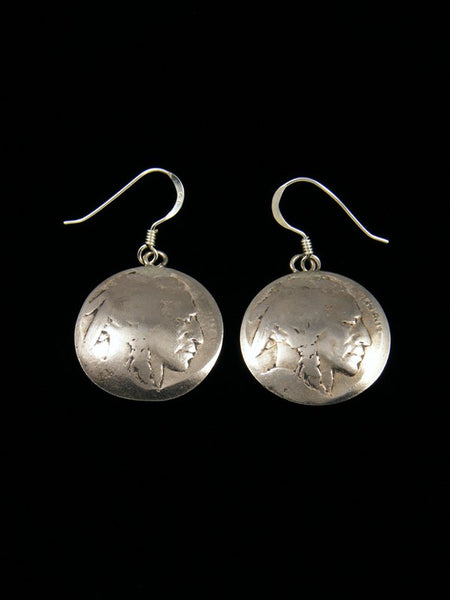 Navajo Buffalo Nickel Sterling Silver Dangle Earrings