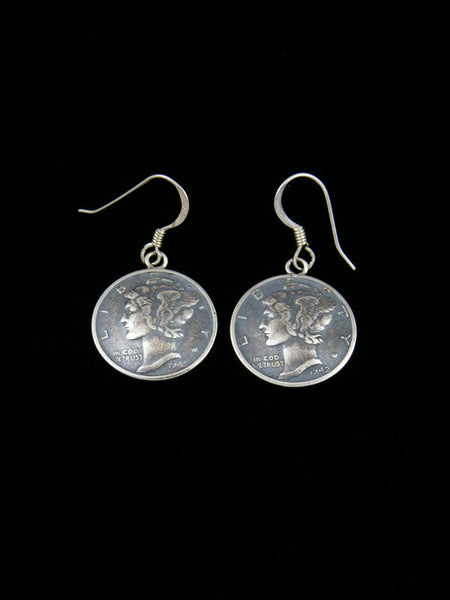 Navajo Liberty Head Dime Sterling Silver Dangle Earrings