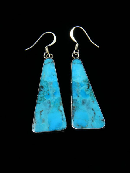 Navajo Sterling Silver Compressed Turquoise Santo Domingo Earrings