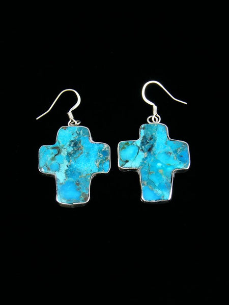 Navajo Sterling Silver Compressed Turquoise Santo Domingo Cross Earrings