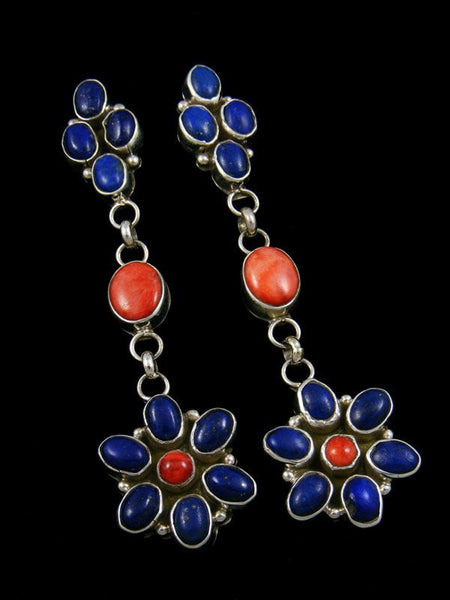 Orange Spiny Oyster and Lapis Earrings by Navajo Artist - PuebloDirect.com