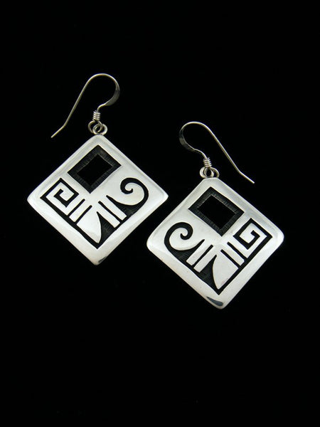 Hopi Overlay Sterling Silver Earrings