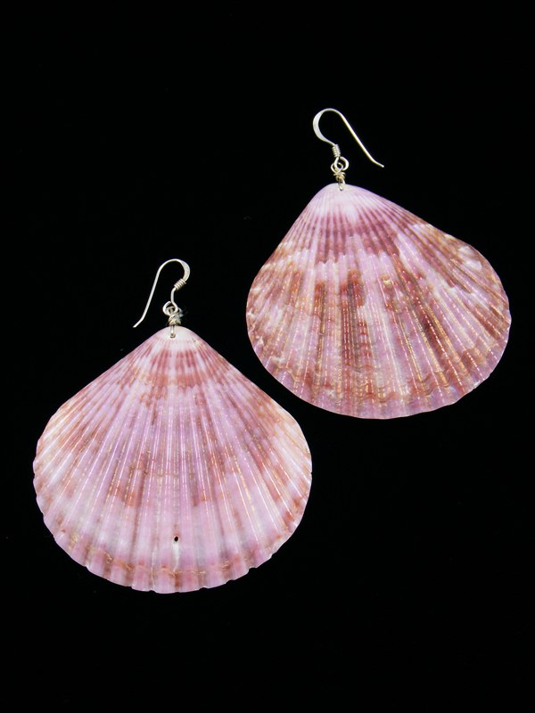 Native American Purple Shell Dangle Earrings
