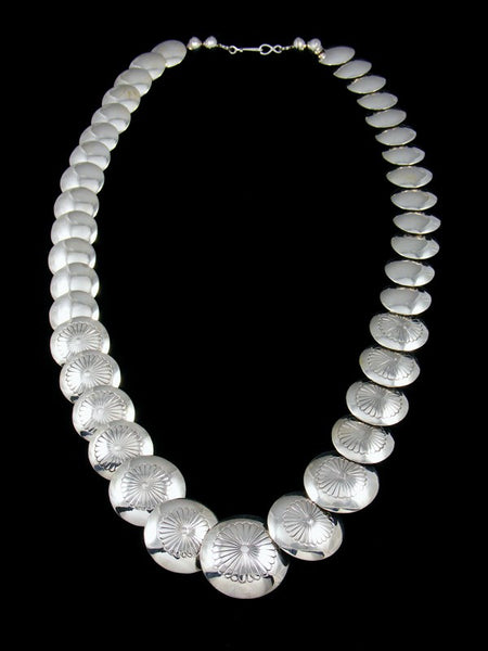 "22"" Native American Sterling Silver Disc Bead Necklace"