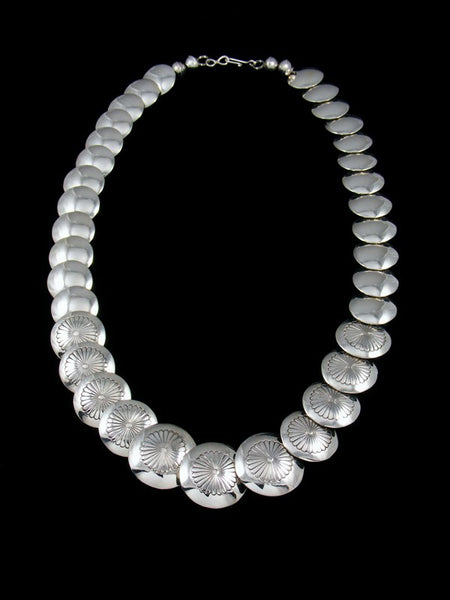"20"" Native American Sterling Silver Disc Bead Necklace"