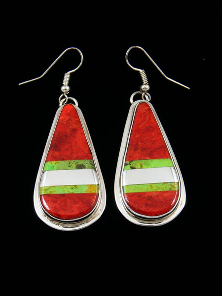 Apple Coral and Gaspeite Santo Domingo Dangle Earrings