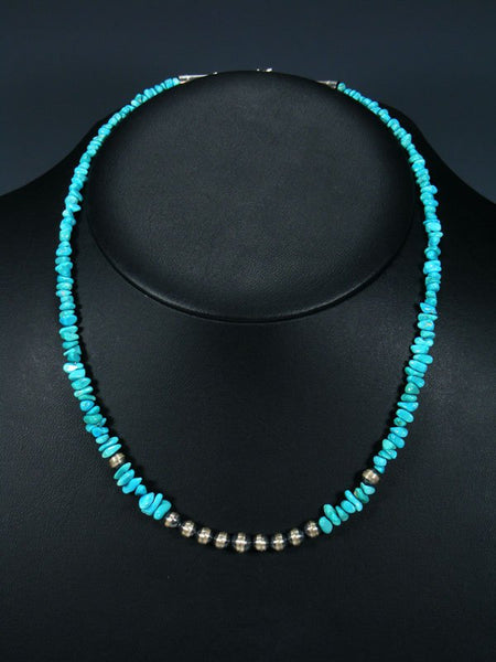 Native American Indian Jewelry Sleeping Beauty Turquoise Beaded Necklace
