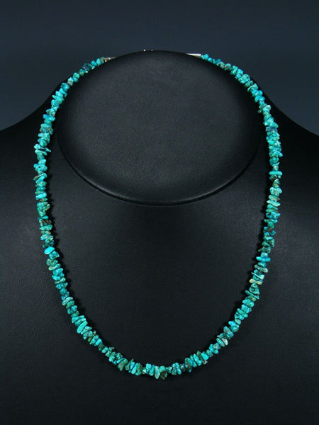 Native American Indian Jewelry Single Strand Lone Mountain Turquoise Necklace