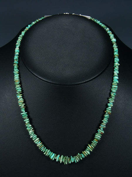Native American Indian Jewelry Single Strand Carico Lake Turquoise Necklace