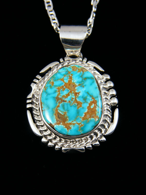 Native American Candelaria Turquoise Pendant by Freddy Charley - PuebloDirect.com